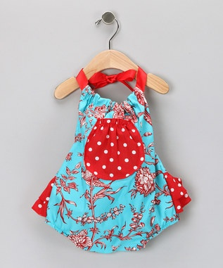Red & Aqua Bubble BodysuitAqua Bubbles, Girls Clothing, Bubbles Bodysuit, Toile Bubbles