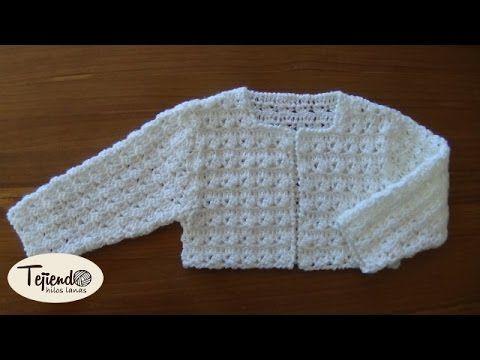 Rebeca de bebé ( chaqueta ) a ganchillo de 0 a 3 meses.( Parte 1 de 2)