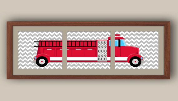 Boys Nursery Art Fire Truck Nursery Art by iNKYSQUIDKIDS on Etsy