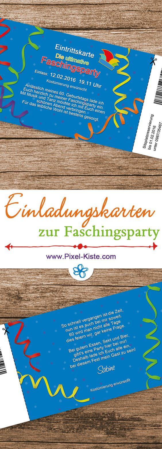 Einladungskarten zur Faschingsparty als Eintrittskarte individuell gestaltet und gedruckt #Karneval #Fasching #Geburtstag #Einladungen