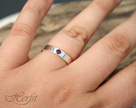 Te amo anillo de plata esterlina anillo de granate