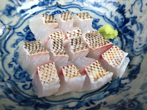 タテシマフエフキの皮霜造り(刺身) フエフキダイ属の魚は上質の白身で淡泊な味。単に刺身にするともの足りなく感じる。それを補うのが皮のうま味である。三枚に下ろして血合い骨を取り、熱湯をかけて急速冷凍をするか氷水に落としてあら熱を取る。少し置き、刺身に切る。