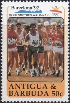 Stamp: 20 Km walk (Antigua and Barbuda) (Summer Olympics 1992) Mi:AG 1403,Sn:AG 1329