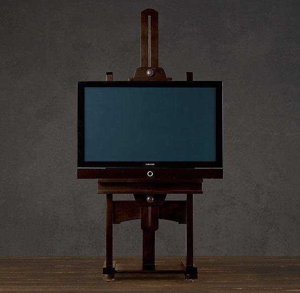 A TV easel from restorationhardware.com! I swear, whenever I get my own place I'm decorating exclusively from this store.