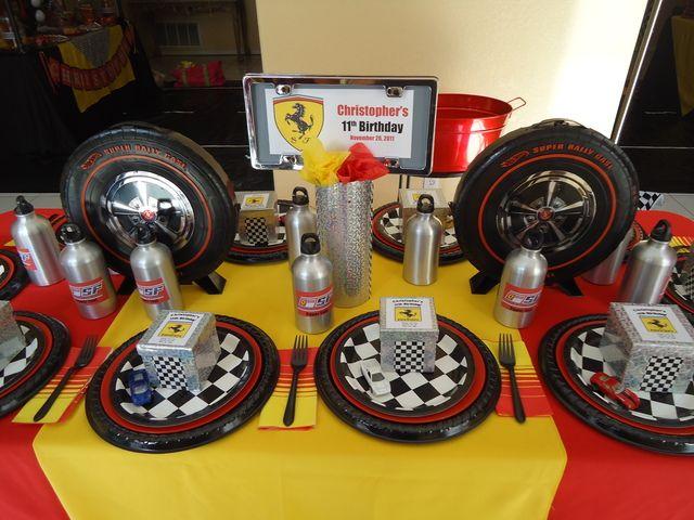 Table settings at a Ferrari Party #ferrari #party