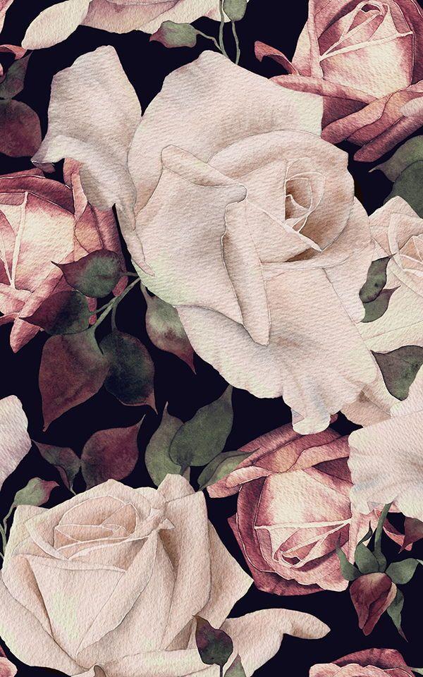 Pink Watercolour Dark Floral Wallpaper Mural Hovia Uk Flower Wallpaper Pink Floral Wallpaper Dark Floral Black floral wallpaper uk