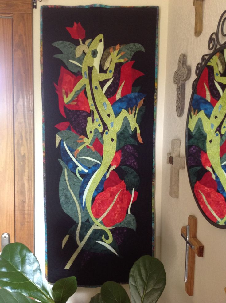 """""""Mr Lizzaard"""" pieced and quilted by Pat Hopf for my sunroom!"""