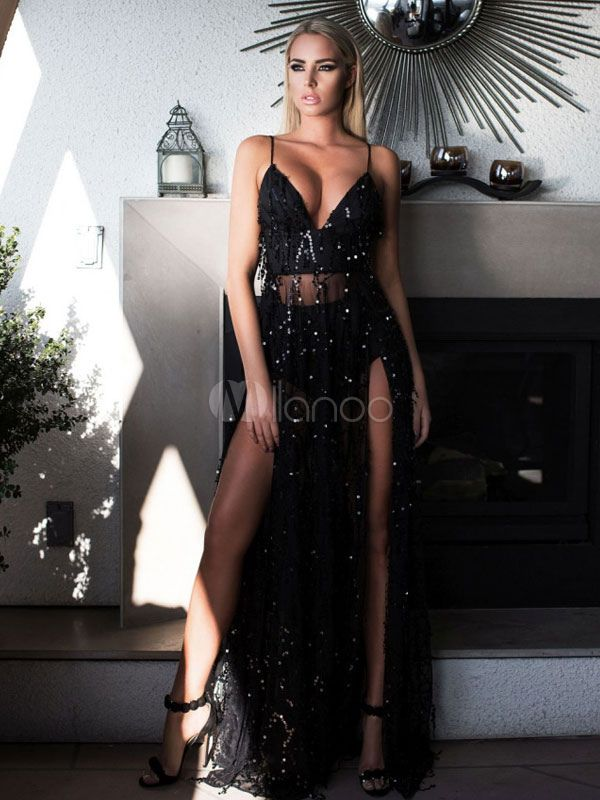 bec66b3bb7145 Black Club Dress Women s Strappy Sleeveless Sequins Low Back High Slit Semi  Sheer Sexy Maxi Dress