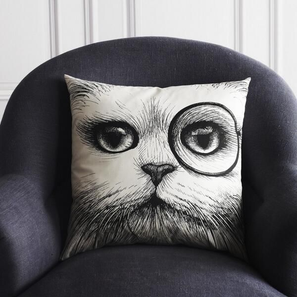 Graham and Green monocle cat cushion