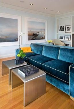 House of Turquoise: Turquoise Sofas: Blue Velvet, Living Rooms, Velvet Couch, Blue Wall Paintings, Paintings Colors, Interiors Design, Accent Tables, Velvet Sofas, Martha Angus