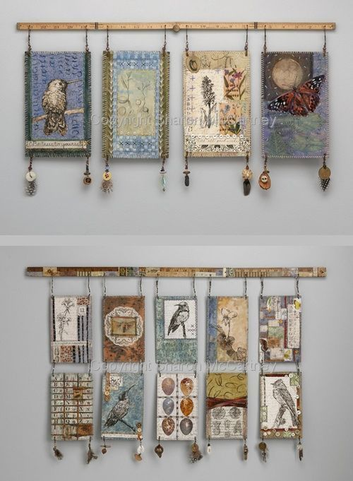 Mixed media wall hangings by textile artist Sharon McCartney (these images no longer on her website)