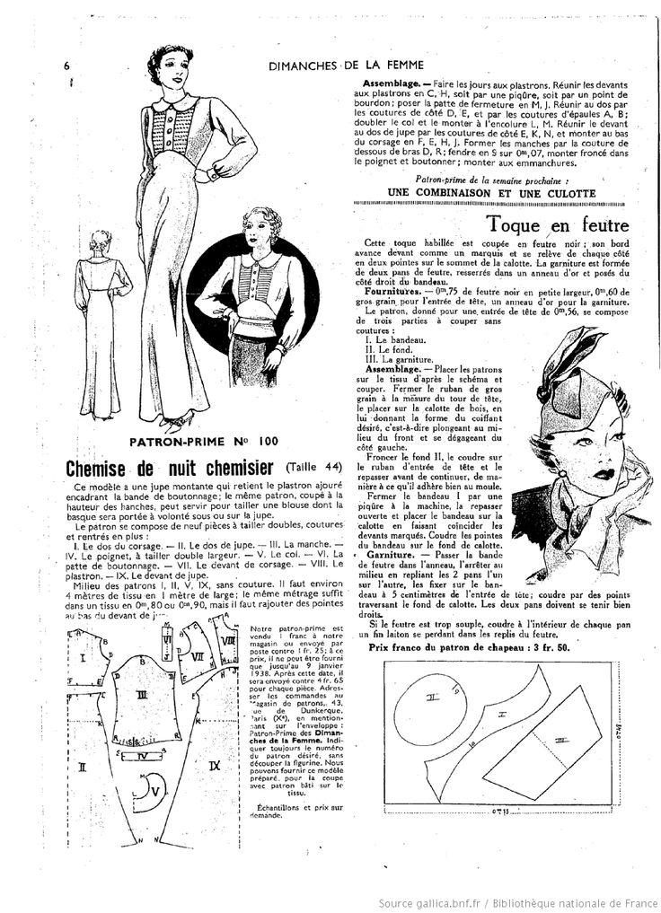 Les Dimanches de la femme : January, 1938. Vintage Dress Pattern