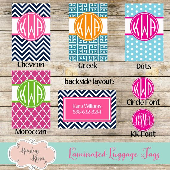 Set of 2 Bag Luggage Tags, Chevron, Greek, Dots, Moroccan, Personalized Bag Tags, Luggage tag, Bridesmaids gifts Monogrammed Personalized