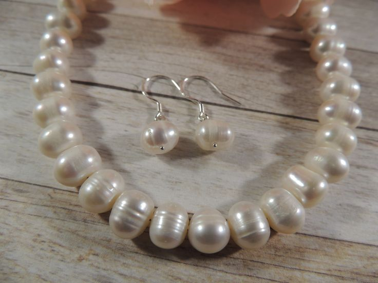 White natural pearl sterling silver necklace and earring set