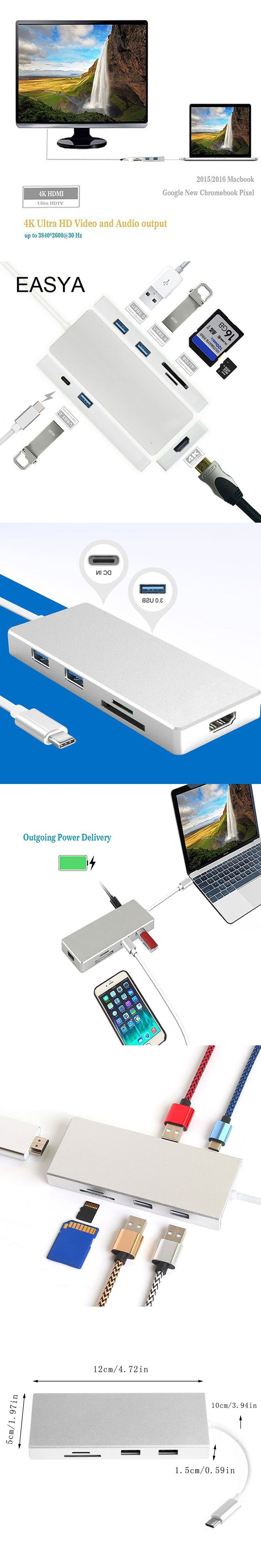 EASYA USB Type-C Hub To HDMI Adapter with USB C Hub 3.0 Power Delivery 4K Video HD SD/TF Card Reader for MacBook Pro
