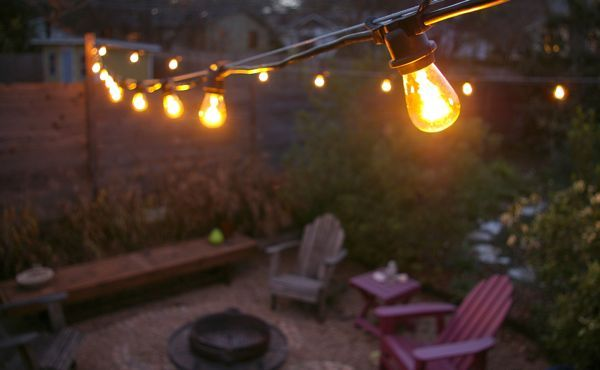 swag a cord or two accross the patio, use low wattage bulbs: Patio Idea, Stringlights, Outdoor Lighting, String Lights Patio Jpg, Light String, Outdoor Lights, Garden, Patio String Lights
