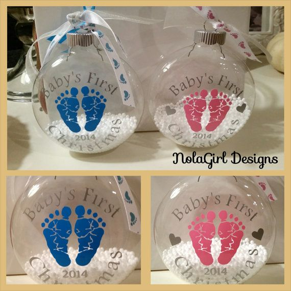 "Baby's First Christmas, Baby's Christmas Ornament, 4"" Glass Ornament with custom Vinyl for baby's first christmas, Pink and Blue available on Etsy, $11.00"