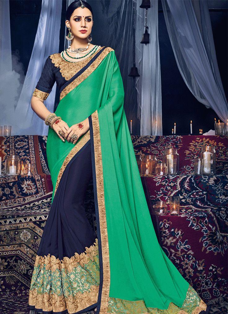 Buy Green Color Satin Chiffon Georgette Saree Online