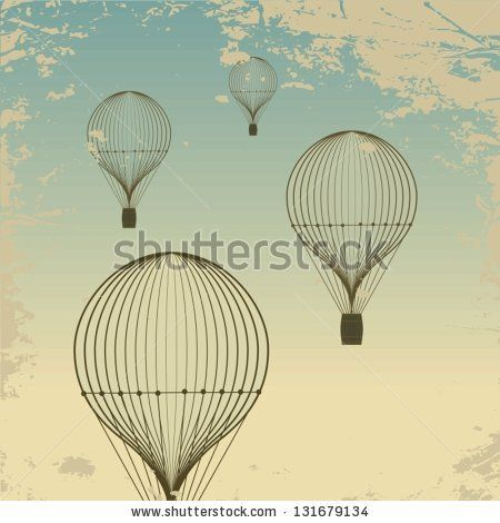 Retro Hot Air Balloon Sky Background Old Paper Texture. Vintage Stock Vector 131679134 : Shutterstock