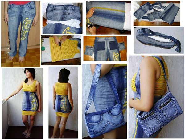 Recycled jeans Dont Touch Dress and Notebook Bag in fabric diy  with Upcycled Recycled jeans Fabric Dress DIY denim