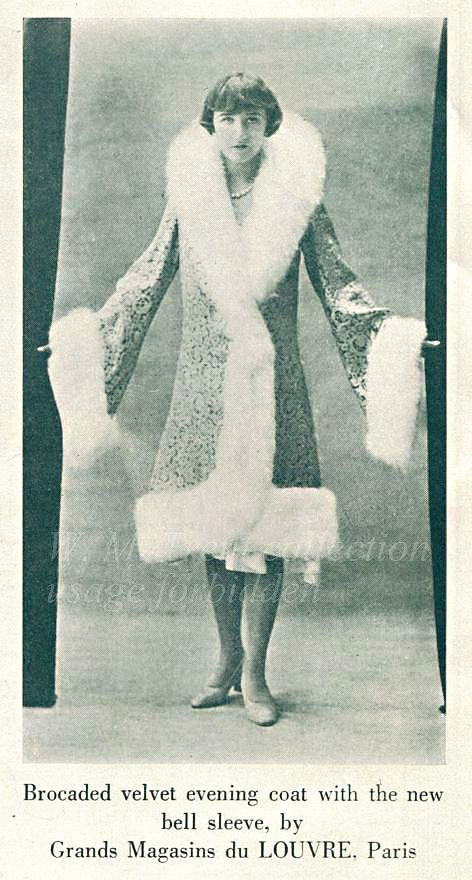 From New York in 1929 an advertisement for an evening coat by Grands Magasins du Louvre of Paris.