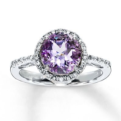 Pink Amethyst Ring Round-Cut with Diamonds. Perfect gemstone engagement ring!