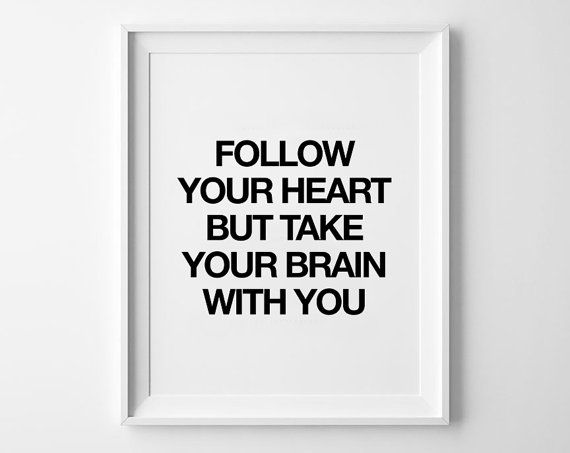 Follow your heart quote poster print, Typography Posters, Home wall decor, Motto, Handwritten, Digital, Giclee, A3 poster