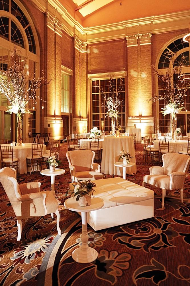 Loving this lounge area by DFW Events in our winter feature wedding at Union Station. Photo by Andrea Polito Photography. #wedding #lounge #furniture #winter #decor