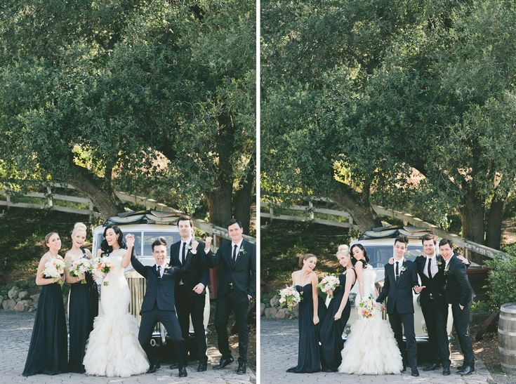 From Brendon and Sarah's Wedding <3 I love how the bridesmaids are wearing black.