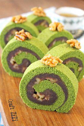 抹茶のくるみごま餡ロールケーキ☆ レシピブログ walnut sesame unroll chiffon matcha cake