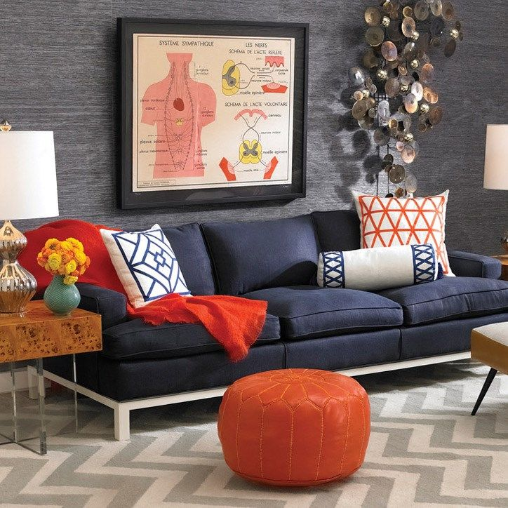 Jonathan Adler Butterfield Sofa @zinc_door #zincdoor #jonathanadler  #furniture. Masculine Living RoomsBlue ...