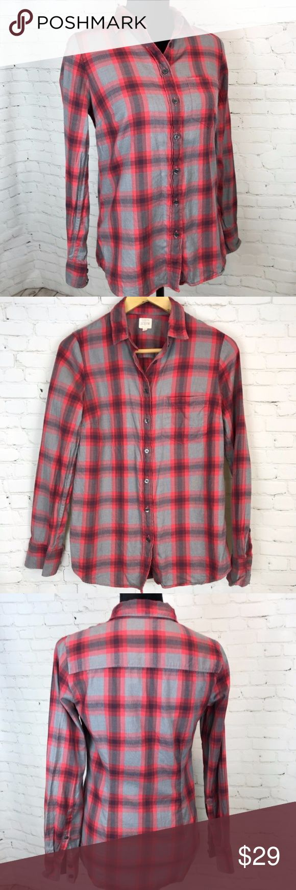 J. Crew Red & Gray Plaid Perfect Shirt 100% Cotton J. Crew Red and Gray Plaid 100% Cotton The Perfect Shirt Nothing is more classic than a button down shirt and J. Crew make some of the best on the market. This classic plaid shirt looks great with jeans or thrown over a vintage t-shirt. Wear the sleeves opened or cuffed, pair it with a high waisted skirt for an updated preppy look. Preowned from a smoke free home, in excellent used condition. Check out the rest of my closet to create your…