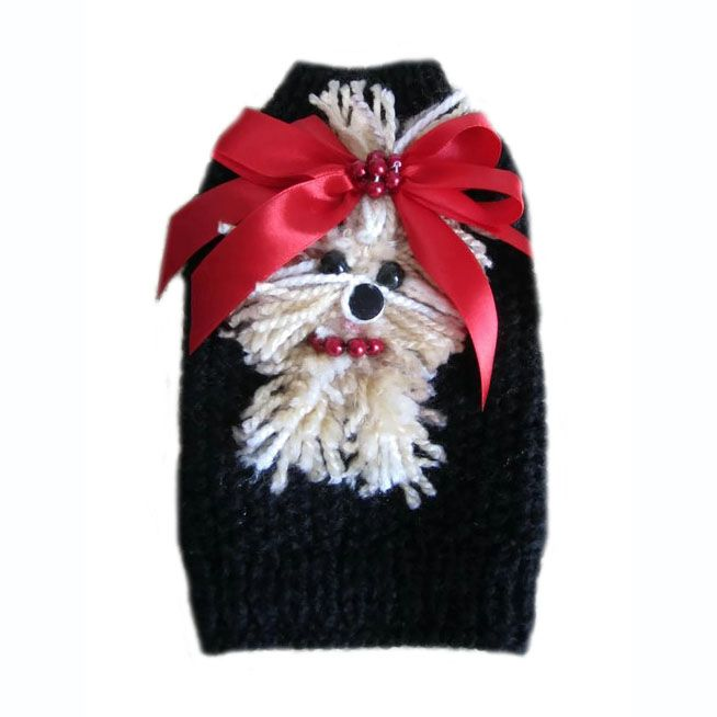 black and red yorkie with hairbow dog sweater