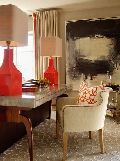 Oversized #tangerine lamps. Abstract painting. #Office #design