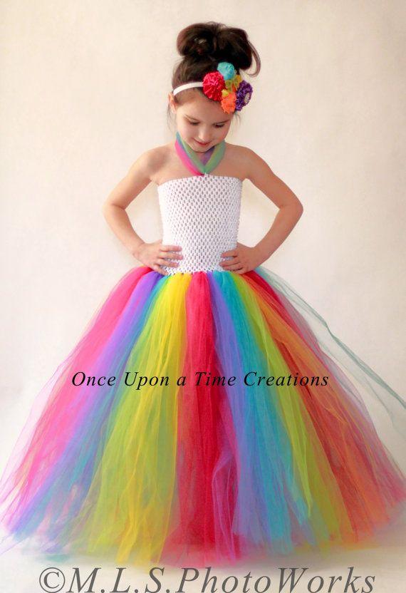 Rainbow Birthday Tutu Dress - Photo Prop - Halloween Costume - Girls Size 12M 18M 2T 3T 4T 5T - Candy Carnival Costume