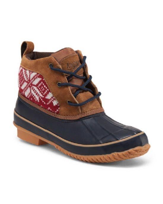 New w/ box Women's KHOMBU Low Duck Boot w/ Sweater & Fur Trim Size 10 Tan/Red #Khombu #lowduckboot