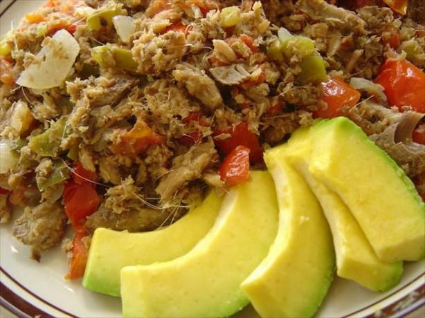 "Saltfish Buljol (Trinidad) from Food.com: A shredded salt cod and vegetable salad. Buljol is a corruption of the French brûle gueule, which means ""burn mouth"". A popular dish in Trinidad and indeeed throughout the Caribbean. Serve with Mama's Fry Bakes ( St. Vincent and the Grenadines)"