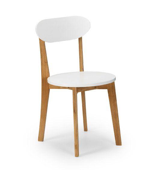 Julian Bowen Tiffany Lot de 2 chaises en chêne naturel Style rétro Blanc