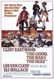 """The climax to """"A Fistful of Dollars"""" and """"For a Few Dollars More""""! Filmed in Italy, set in America during the Civil War: Good guy Blondie (aka TMWNN) (Clint) does a """"good deed"""" for ugly guy Tuco (Eli Wallach) by freeing him from the hangman's noose. There's worse noose - news: bad guy Angel (Lee Van Cleef) captures both as uncivil Civil War prisoners."""