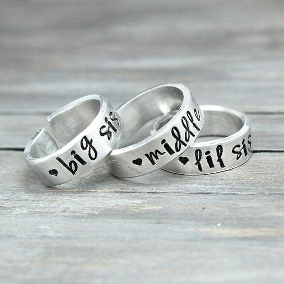 Silver Sisters Rings Silver Rings Sisters by PureImpressions