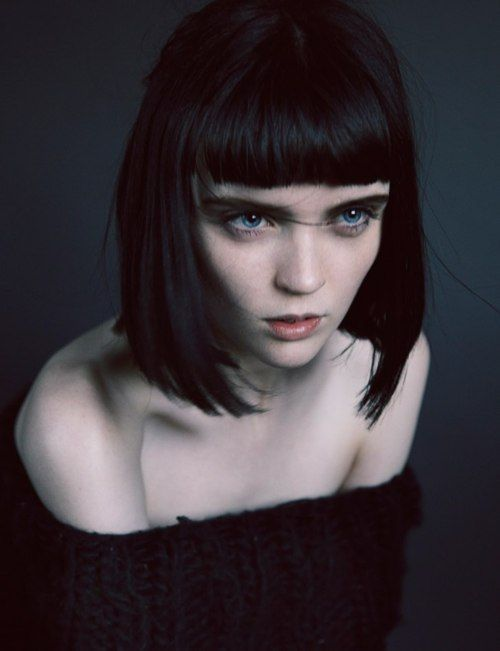 black bob with short blunt bangs
