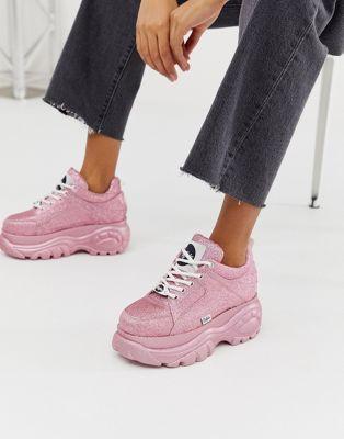 3fd1bc3351 Buffalo London London Classic Kicks pink glitter lowtop chunky flatform  trainer