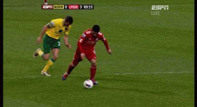 Suarez' outrageous long range goal vs Norwich #football #goal #gif