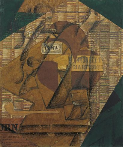 Juan Gris. Bouteille de rhum et journal (Bottle of Rum and Newspaper), June 1914.   Paper collage, gouache, conté crayon, and pencil on newspaper, mounted on canvas, 21 5/8 x 18 1/4 inches.
