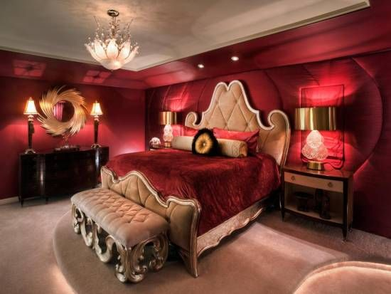 Charmant Rich Red Master Bedroom With Upholstered Bed