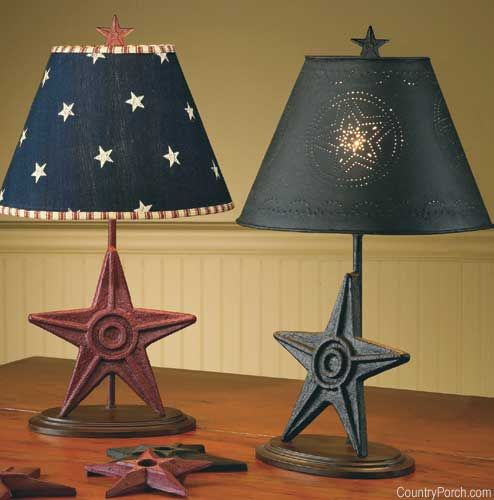 Black metal star finial lampshade 12 primitive