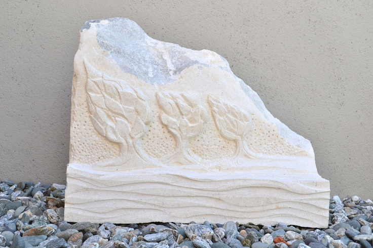 """Coastal Trees""  Charlie Miller 2012 Oamaru Stone  53w x 44h x 15d  cm"