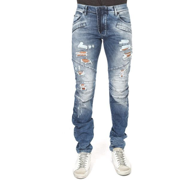 Pierre Balmain Jean Blue Destroyed PIERRE BALMAIN ($675) ❤ liked on Polyvore featuring men's fashion, men's clothing, men's jeans, home, men's, mens jeans, mens patched jeans, mens frayed hem jeans, mens blue ripped jeans and mens zipper jeans
