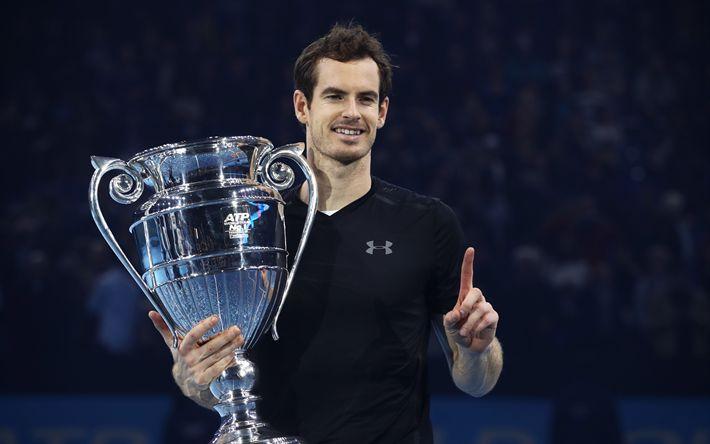 Herunterladen hintergrundbild andy murray, tennis, atp, dem britischen tennis-spieler, ersten schläger der welt, pokal, atp world tour