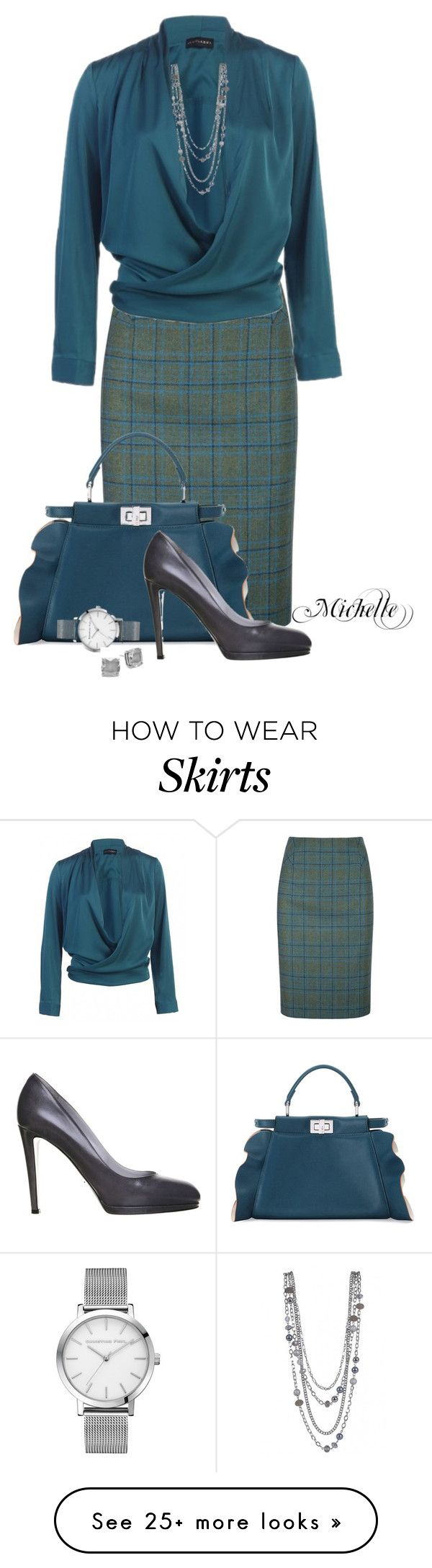 """Tweed in Teal"" by michellesherrill on Polyvore featuring DUBARRY, Fendi, Sergio Rossi and Kate Spade"